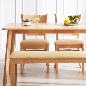 캔트 4인용 원목식탁(의자2개+벤치)