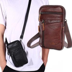 소가죽 가방 허리쌕 케이스 미니크로스 핸드폰 (B형)