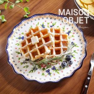 프라카 폴란드풍 도자기 프릴접시 대 26cm