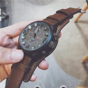 KTEVI 남성 패션 가죽 손목시계 군인