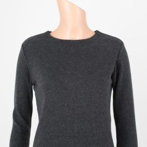 피치 기모 롱 티셔츠 슬림핏 라운드넥 크림색 따뜻한