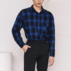 F305-1/체크블루 남성 싱글포켓 글렌체크 캐주얼 셔츠