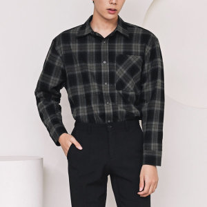 F305-2/체크그레이 남성 싱글포켓 글렌체크 셔츠