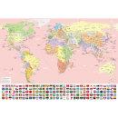 세계지도 한글 포스터 인테리어 어린이 코팅 핑크
