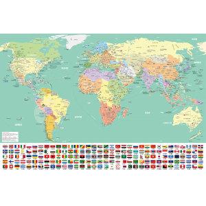 세계지도 한글 포스터 인테리어 어린이 코팅 민트