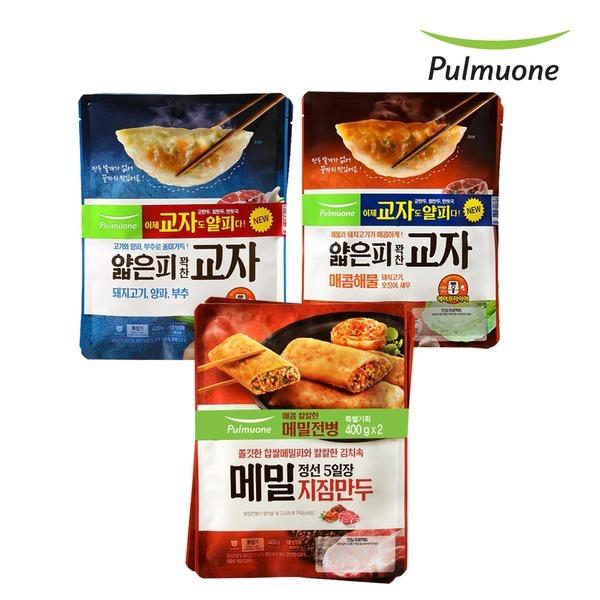 풀무원 교자만두 고기/해물 각2봉+메밀지짐만두 2봉