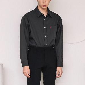남성 싱글 포켓 세미 오버핏 캐주얼셔츠 /F594-5 차콜