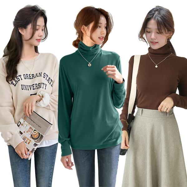 겨울 기모 루즈핏 맨투맨 목폴라 니트 티셔츠