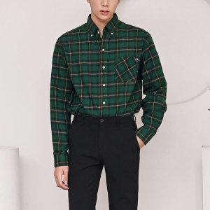 남성 버튼다운 체크 캐주얼 셔츠 /C44 딥그린