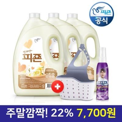 [피죤] 섬유유연제 3100ml x3 화이트+수세미걸이+영탁80ml