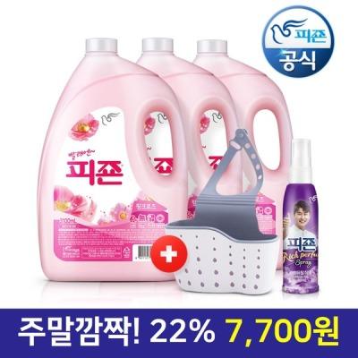 [피죤] 섬유유연제 핑크 3100ml 3개+수세미걸이+영탁80ml