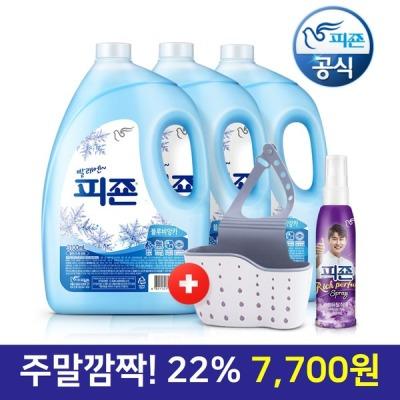 [피죤] 섬유유연제 (블루) 3100ml 3개+수세미걸이+영탁80ml
