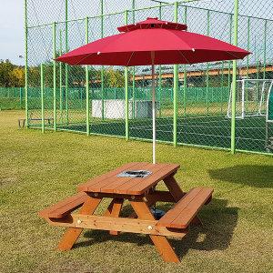 4인용 야외 버너 테이블 (방부목) 도색 파라솔포함