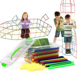 빨대 블록 500P 입체도형 놀이 매직 스트로우 장난감