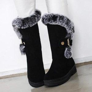 여성 4.5cm 스웨이드 겨울 미들 털부츠 방한화 털신발