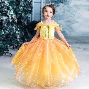 벨 샤이니 옐로우 공주 드레스 코스튬 어린이 선물