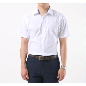 남성 솔리드 반팔 슬림핏 와이셔츠 / 112 스판화이트