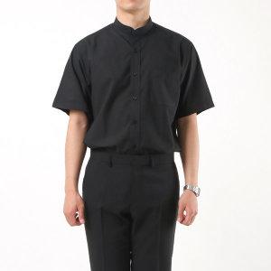 남성 차이나칼라 반팔 와이셔츠 / 1062 블랙