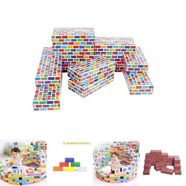 종이 벽돌 (칼라) (04914) 사각 블럭 쌓기 블록 유아