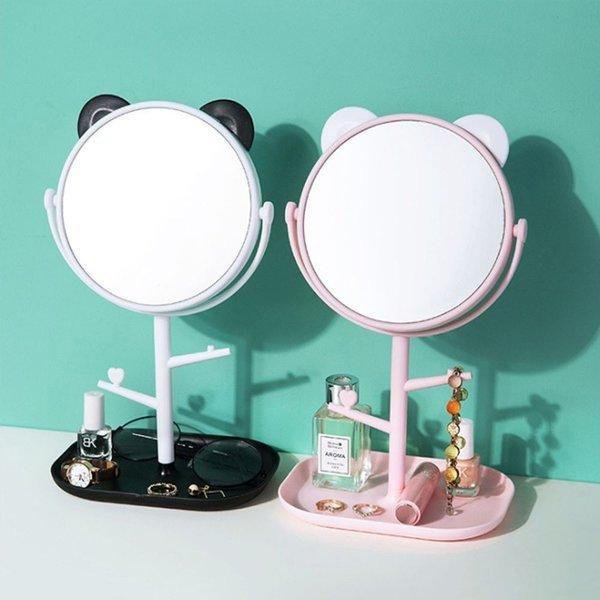 (색상 핑크) 곰돌이 스탠드 거울 탁상 메이크업 화장