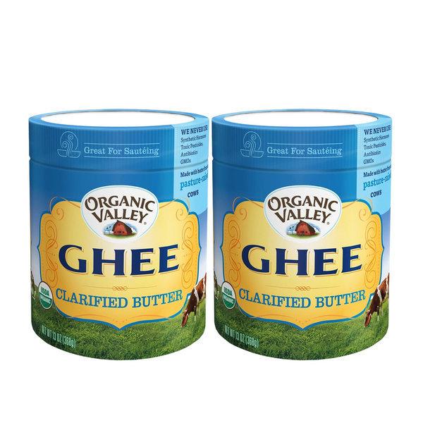 2개 Organic Valley 퓨리티팜스 무염 기 버터 정제 목초 Ghee Butter 368 g
