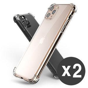 아이폰11프로맥스 핸드폰 투명 젤리 범퍼 케이스 1+1