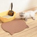 묘심 고양이화장실매트 발판 머리모양 베이지 54X56cm