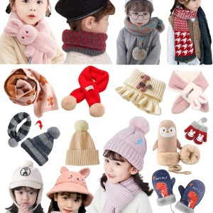 유아동 털 방한 모자 스키장갑 목도리 넥워머 귀마개