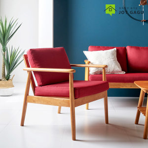 도도 1인용 패브릭 소파 고무나무 원목 쇼파 카페의자