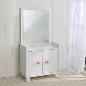 라운딩 수납형 좌식화장대/화장품함/콘솔/보석함/거울