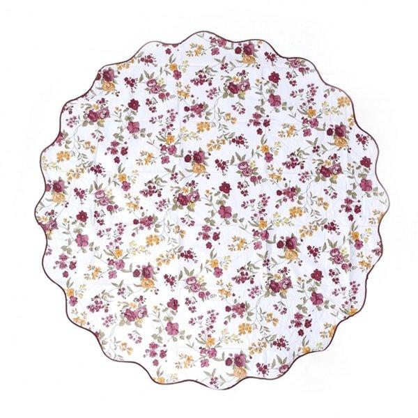 플로럴 원형 방수 테이블보 152cm 테이블보 꽃무늬테
