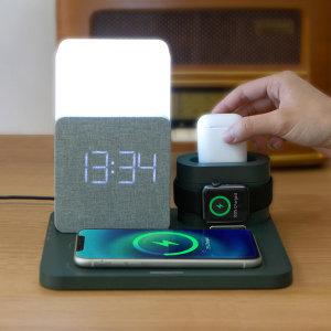 고속 무선충전기AL3IN1 올인원 LED 알람시계 무드등