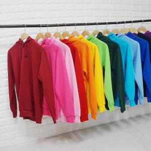 남성 여성 기본 무지 특양면 후드 티셔츠 남녀공용