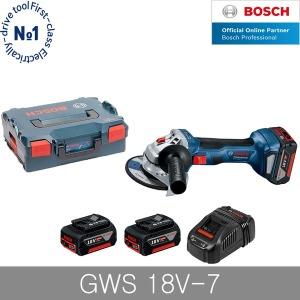 보쉬 GWS18V-7 충전그라인더 4인치 5.0Ah 배터리 2개