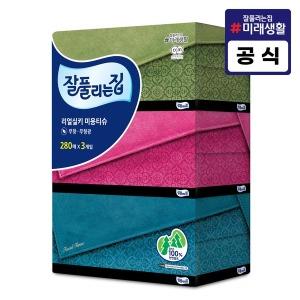 잘풀리는집 미용티슈 280매 3개/휴지/화장지/각티슈