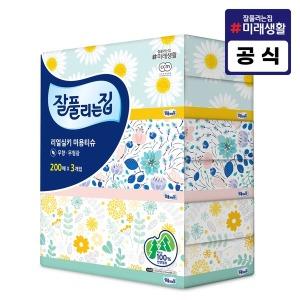 잘풀리는집 미용티슈 200매 3개/휴지/화장지/각티슈