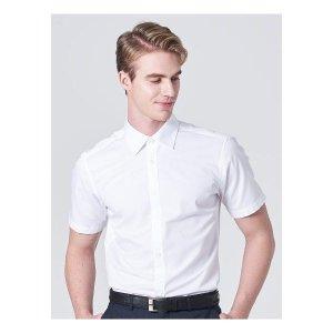로가디스  화이트 코튼 혼방 트윌 솔리드 반팔 셔츠 (MA9465FR11)