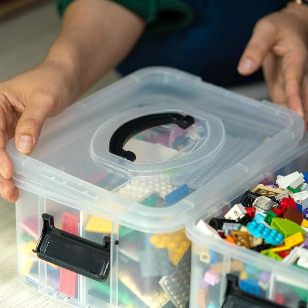 (현대Hmall)스택킹 레고 장난감 정리함 미니리빙박스 1호 3단(칸막이포함)