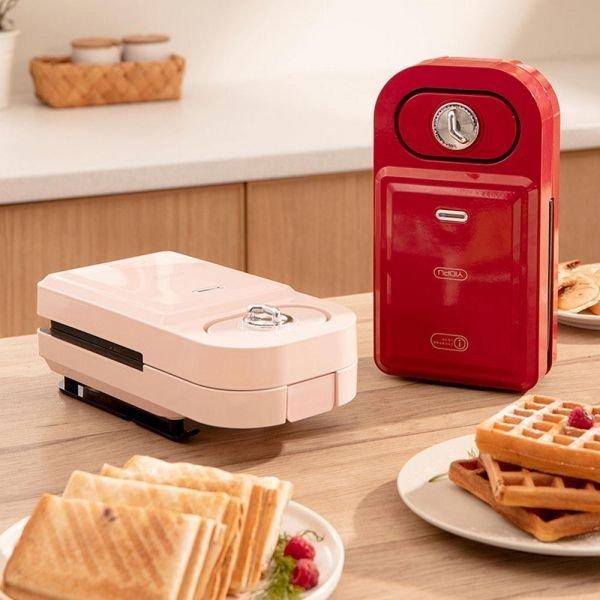 2in1 샌드위치 와플 토스트기 분리형 와플메이커 핑크