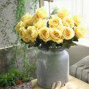 더설렌 인테리어소품 한송이 장미 조화(옐로우)꽃장식