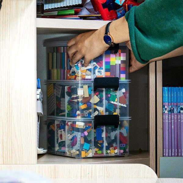 (현대Hmall)스택킹 레고 장난감 정리함 미니리빙박스 2호 3단(칸막이포함)