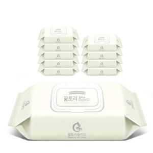 꿈토리 아기물티슈 스페셜 캡형 10팩 75gsm+휴대용4팩