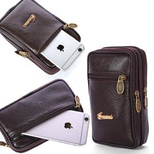 미니 가방 휴대폰가방 허리쌕 소가죽 세로 포켓가방