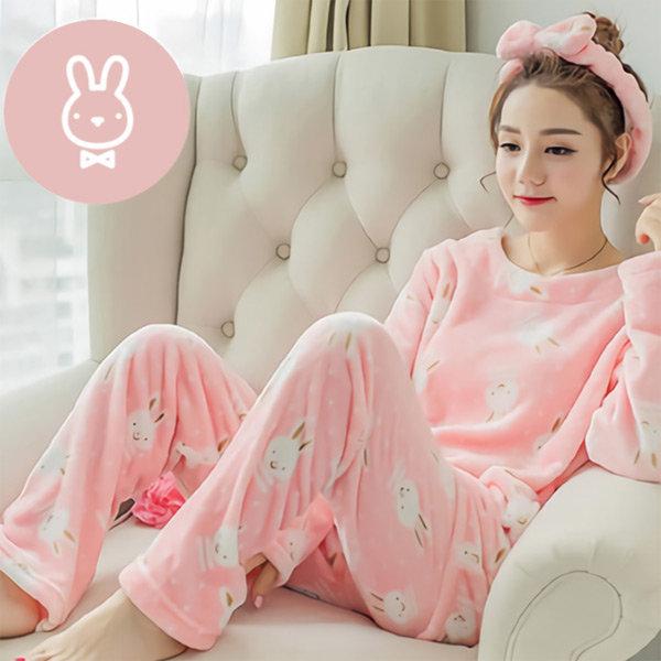극세사 수면잠옷 상하 세트 파자마 홈웨어 (토끼)