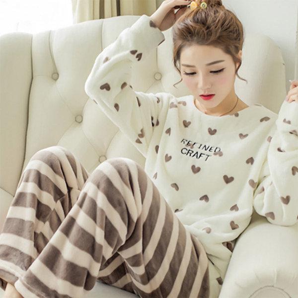 극세사 수면잠옷 상하 파자마 홈웨어 (스트라이프)
