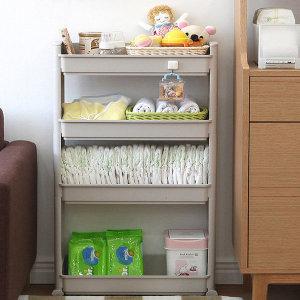 슬림선반 18cm 4단 이동식 선반 틈새수납장 주방 욕실