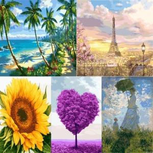 (1+1) DIY 명화 따라그리기 해바라기 에펠탑 사과 꽃