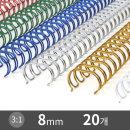 3:1 와이어링 제본용 제본링 8mm 20개 색상선택