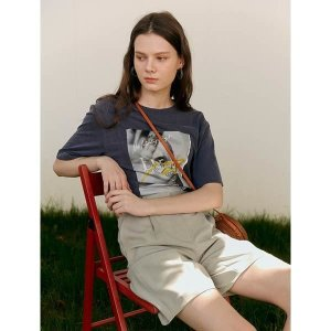 온앤온  턱 디테일 그래픽 티셔츠 NW0ME446