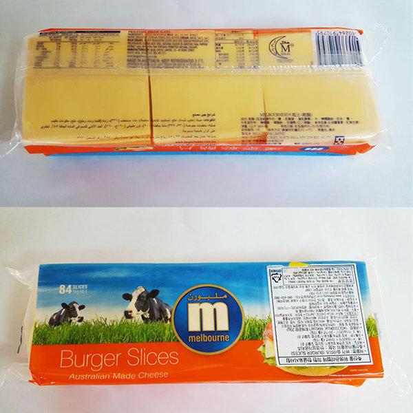 버거 체다 슬라이스 치즈1kg (84매)자연치즈80%